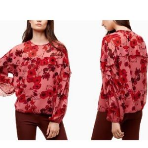 Aritzia Wilfred Poppy Frilly Long Sleeve Blouse